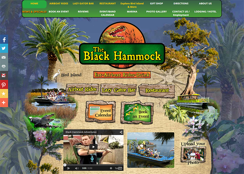 Black Hammock Adventures Website Example, bar website, custom design, corporate branding