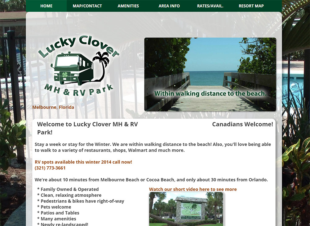 Lucky Clover RV Website Example